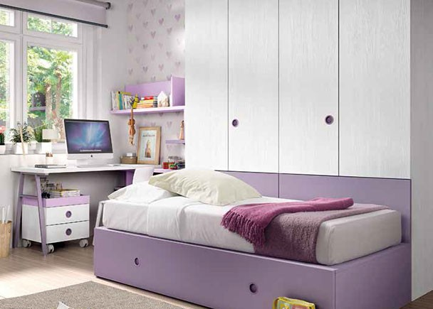 Habitaci n infantil con 2 camas tipo tren armario elmenut for Armario habitacion infantil