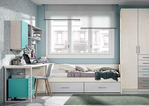 Dormitorio con camas tipo tren armario elmenut for Muebles zamorano jose mari