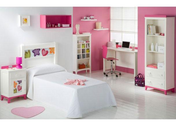 Dormitorio lacado blanco con corazones elmenut - Habitaciones infantiles en blanco ...