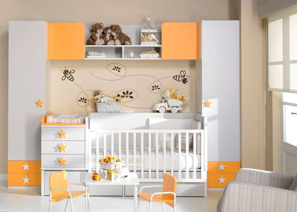 DORMITORIO BEBE CUNA CONVERTIBLE CON CAMBIADOR MDULO 3 CAJONES ESTANTERA LATERAL Y 2 CAJONES CONTENEDORES BAJOS