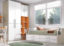 Habitación infantil con cama-Tarima con Ruedas. Los