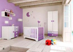 Dormitorio para bebé equipado con cuna MATHS MINI para colc