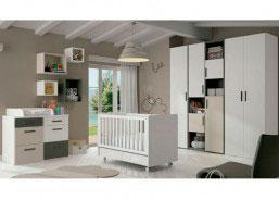 Dormitorio para bebés equipado con una bonita cuna del modelo CHIP en color nieve con detalles en piedra y pizarra.