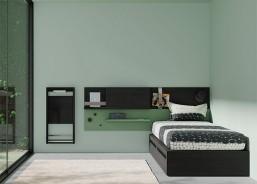 Dormitorio juvenil funcional con 2 camas con cajones, arcón elevable especial, arrimaderos, mesa estudio en angulo y elementos de colgar.