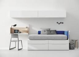 Dormitorio juvenil con armario 2 de puertas y zona de escritorio independiente para cubrir 2 paredes.