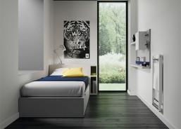 Dormitorio juvenil con cama nido centrada en la pared, armario 4 puertas, escritorio y elementos de colgar con librerias y puertas.