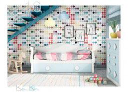 Dormitorio con cama nido con arrastre. Cuenta con arcón de