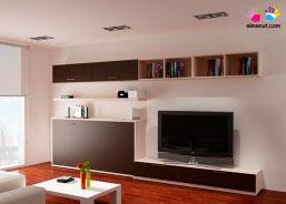 Presentamos una composición exclusiva de ElMenut.com. Se trata de un Salón con cama abatible individual horizontal.