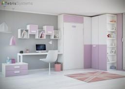 Habitación para niñas con cama abatible vertical, amplio armario rinconero, terminal zapatero con estantes vistos y como no, ¡en sus tonos preferidos!