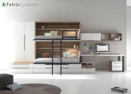 Combinación mixta de cama abatible con cama nido. El ambiente cuente además con un armario apilable de 2 puertas y escritorio de sobre decreciente.
