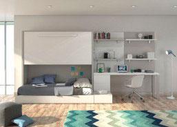 Juvenil con cama abatible alta y sistema modular con cajones
