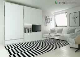 Salón de estílo contemporáneo, equipado con una composición mural que integra una cama abatible vertical para colchón de 90 x 190 de, con otros elementos complementarios que vamos a ir describiendo.