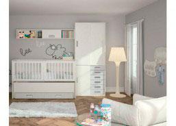 Habitación para bebé con cuna convertible modelo Conver DUO para gemelos.