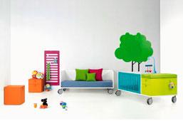Dormitorio bebé 1 Cama tarima con ruedas Artic para somier