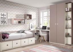Habitación Juvenil con cama abatible Vertical, Armario Rect