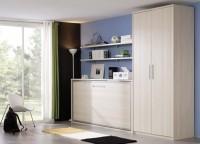 Dormitorio juvenil compuesto por cama abatible horizontal para colchón de 90*190, armario de 2 puertas largas y estantes a pared con soportes.