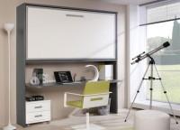 Dormitorio juvenil compuesto por una cama abatible horizontal alta y bajo mesa de estudio con cajonera de 2 cajones con ruedas.