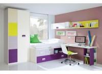 Habitaci�n infantil compuesta por compacto con cama, 2 contenedores + hueco y somier nido. Armario 3 puertas desigual, mesa de estudio con soporte al compacto y estanter�as con trasera y m�dulo de puerta a pared.