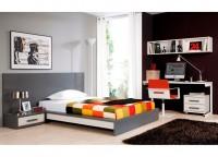 Dormitorio juvenil compuesto por cama con cabezal para colchón de 135 con 1 mesita de 1 cajón que enrasa con el aro de la cama, mesa de estudio con patas metálicas y estantería diáfana a pared.