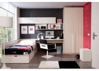 Dormitorio juvenil compuesto por un compacto bajo de 1 cama con 2 cajones de apertura lateral y frontal. Mesa de estudio de apoyo en el compacto con estanter�a abierta y m�dulos de puerta a pared y armario de 2 puertas con tiradores largos de 100 cms.