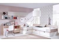 Habitación infantil compuesta por 2 camas compactas de rincón con cajones, mesa de estudio con cajonera con ruedas y módulos con puerta y estantería diáfana desigual a pared.