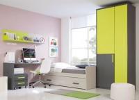 Habitaci�n infantil compuesta por cama nido con somier de arrastre, mesa de estudio con soporte met�lico a cama nido y cajonera con ruedas, estantes con trasera y armario de 2 puertas asim�tricas.