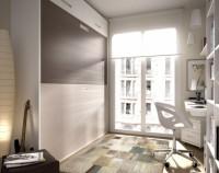 Habitación infantil compuesto por un compacto bajo 1 cama con somier de arrastre, mesa de estudio recta con apoyo sobre la cama, estantería y módulo de 1 puerta a pared y armario de puertas japonesas con perfiles marrones.