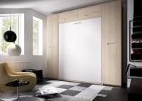 Dormitorio juvenil con un compacto 1 cama, 4 cajones y cama nido de tan solo 51 cms de alto. Mesa de estudio con apoyo sobre la cama, armario con puertas japonesas y estanter�a combi con cubo con puerta.