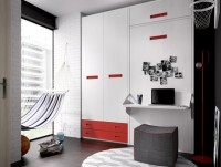 Habitaci�n infantil compuesta por compacto 2 camas, una oculta y 4 contenedores; armario de 3 puertas de 160x220 y mesa de estudio a medida con un bajo de cajones y hueco y otro de 1 puerta y sobre el escritorio una librer�a.
