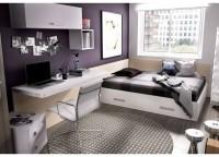 Habitaci�n infantil compuesta por compacto 2 camas y 2 cajones, mesa de estudio con soporte met�lico a cama compacta, estantes con panel a pared y armario con 3 puertas con partidor interior.