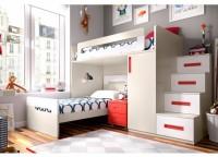 Habitaci�n infantil compuesto por compacto 1 cama, 4 cajones y somier nido de arrastre. Mesa de estudio recta con apoyo sobre la cama compacta, cajonera con ruedas, estantes a pared con trasera y armario con partidor interior y puertas asim�tricas.