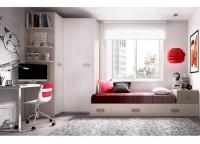 Habitaci�n infantil compuesta por compacto 1 cama, 4 cajones y arrastre nido; puente nido de puertas correderas, armario de 100x240 y mesa de estudio con soporte met�lico a la cama compacta.