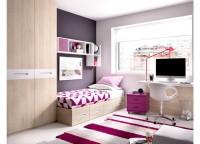 Dormitorio juvenil con cama compacta, 4 cajones y cama nido y zona de estudio con mesa forma con un bajo de cajones y 2 módulos estantería y un módulo de puerta a pared con estantería.
