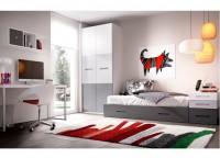 Habitaci�n infantil compuesta por cama compacta con 2 contenedores, hueco y cama nido. Mesa de estudio con arc�n zapatero de apertura lateral y bajo 3 cajones+hueco bicolor con estantes a pared y armario de 100x220.