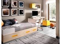 Habitaci�n infantil compuesta por compacto 1 cama, 4 cajones y cama nido; mesa de estudio recta de apoyo sobre la cama compacta con buck de 2 cajones con ruedas y estantes a pared con trasera.