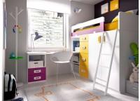 Habitaci�n infantil que cuenta con un compacto de 1 cama, 2 contenedores + hueco y somier de arrastre; mesa de estudio con un bajo de 4 cajones de 47 cms de ancho y armario de 100x220 con puertas de franjas y perfiles de aluminio.