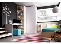 Habitaci�n infantil compuesta por armario rinc�n con puertas curva-recta y de medida variable, de 112 a 136x87 y 220 de alto; mesa de estudio con cajones y estantes abiertos y uno con puerta y cama compacta con 4 contenedores y cama nido.