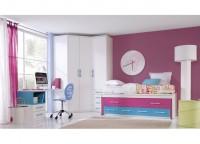 Habitaci�n infantil compuesto por compacto 2 camas y 4 contenedores, armario de rinc�n con 2 puertas de forma pentagonal y mesa de estudio a medida con cajonera y hueco bicolor.