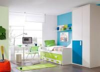 Habitaci�n infantil compuesta por compacto  cama + cama desplazable oculta y 4 contenedores, mesa de estudio con apoyo met�lico sobre cama compacta y armario de puertas asim�tricas de 100x220.