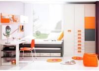 Habitaci�n infantil compuesta por doble cama compacta con 4 cajones, mesa de estudio con soporte de apoyo a la cama y bajo de estudio inform�tico, estantes con trasera y m�dulo de 1 puerta, a pared y armario de 3 cuerpos interiores, 4 puertas y 6 cajones.