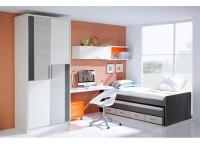 Habitaci�n infantil compuesta por doble cama compacta con 4 cajones contenedores, mesa de estudio con soporte a cama y cajonera con ruedas, estantes y m�dulo cerrado a pared y armario de 2 puertas con franjas y perfiles de aluminio.