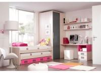 Habitación infantil con un armario de rincón con puerta corredera, doble cama compacta con cajones, mesa de estudio con bajo de cajones y hueco bicolor y estantes a pared con soportes ocultos.
