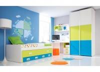 Habitaci�n infantil que contiene armario de 2 puertas correderas japonesas de 120x220, compacto cama + cama oculta y 4 cajones, mesa de estudio con bajo de 2 cajones y hueco bicolor, estanter�a y cubo a pared.