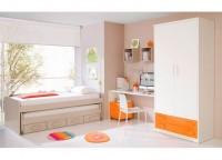 Habitaci�n infantil compuesta por armario de 2 puertas y 2 cajones vistos, compacto de 2 camas y 4 contenedores, mesa de estudio con cajonera con ruedas y estantes tipo cubo.