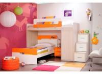 Habitación infantil compuesta por litera con armario block de 1 puerta, cama con cabezal dispuesta en