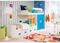 Habitación infantil litera tren con armario de 2 puertas de 100, cama nido con bloque de 4 cajones contenedores, quitamiedos dual bicolor, escalera y trasera.