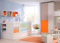 Dormitorio beb� compuesto por cuna convertible con somier nido de arrastre, colchoneta para cambiador, estantes tipo cubo y armario de 2 puertas asim�tricas de 100x220.
