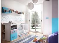 Dormitorio bebé que cuenta con una cuna convertible con 4 contenedores y colchón cambiador; módulo de cajones y contenedores, estantes con panel a pared y armario de 100x220.