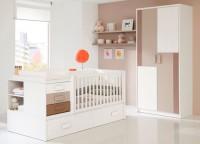 Dormitorio bebé compuesta por cuna convertible con estantería trasera y lateral, cajonera con cambiador, barandilla móvil; estantes a pared con soportes ocultos y armario de 2 puertas de 100x220.