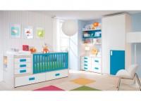 Dormitorio bebé compuesto por cuna convertible con cajones nido y colchón cambiador incluido, módulo de cajones y contenedores con patas, estantes a pared y armario con partidor interior y estantes de puertas asimétricas.